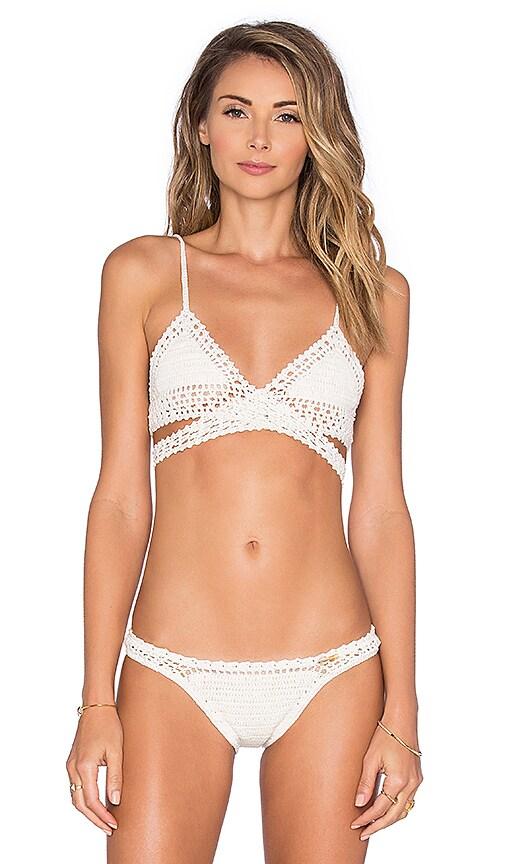 SHE MADE ME Wrap Triangle Bikini Top in Beige