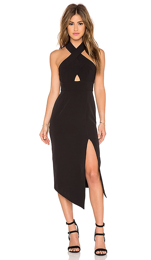 Shona Joy Scuro Cross Over Halter Dress in Black