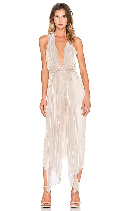 Shona Joy Meriel Plunged Shawl Midi Dress in Gold & Silver