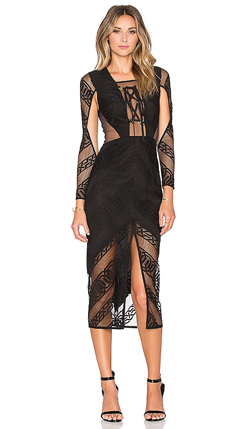Shona Joy Arabesque Lace Up Midi Dress in Black