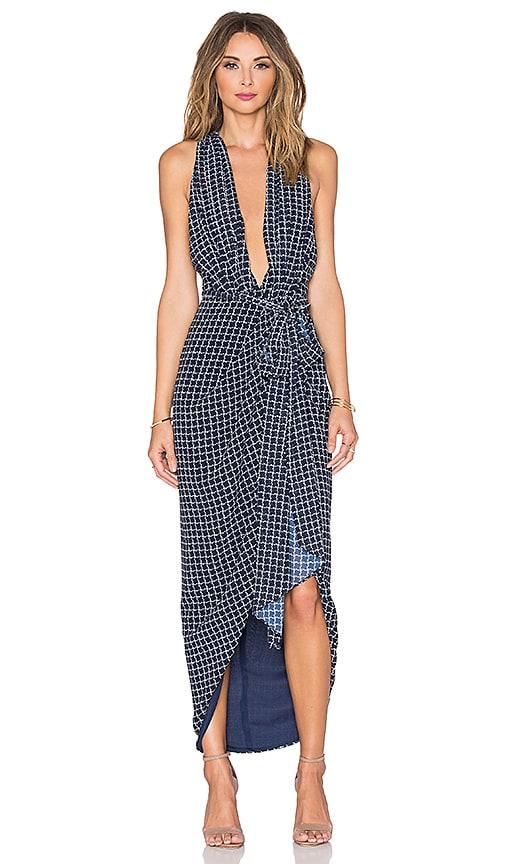 Shona Joy La Nina Cross Front Maxi Dress in Navy & White