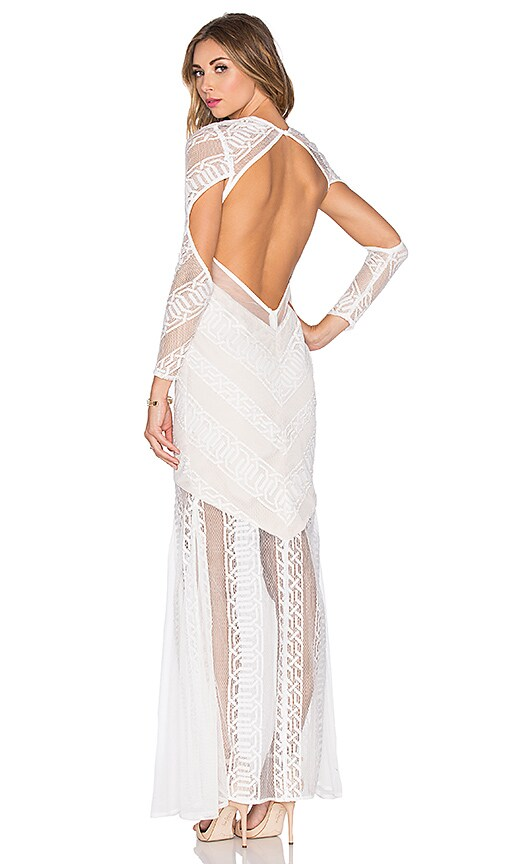 Shona Joy Ambrosia Backless Maxi Dress in White & Nude