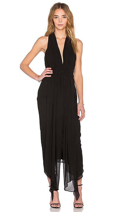 Shona Joy The Conquest Plunged Midi Dress in Black