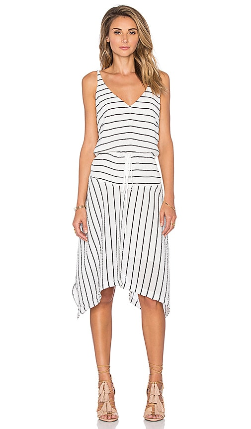 Shona Joy Arcus Drawstring Dress in White & Black