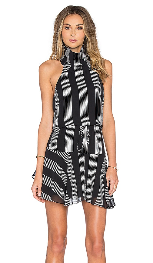 Shona Joy Sumatra High Neck Mini Dress in Black & White