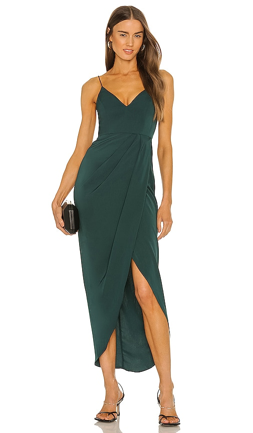 Shona Joy Cocktail Draped Dress in Green