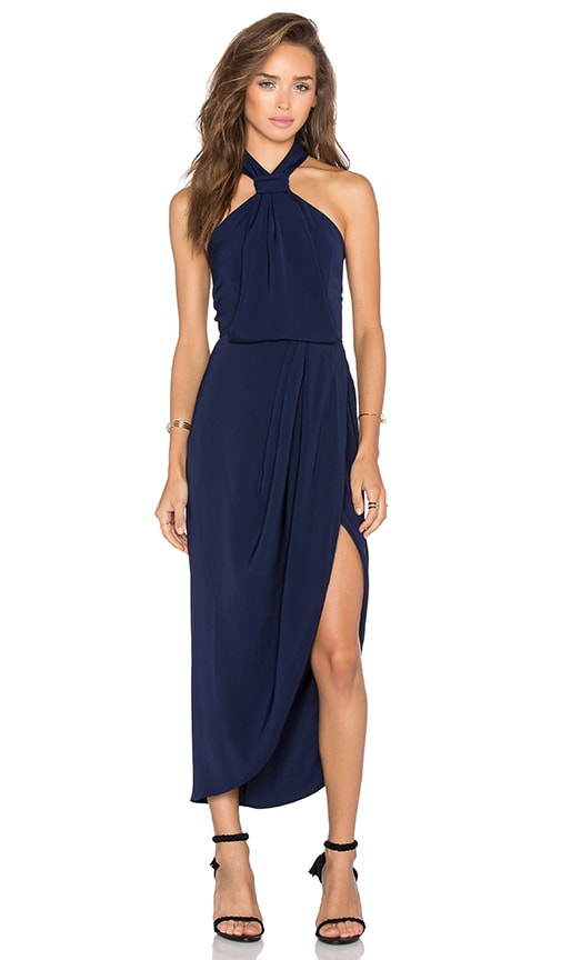 Shona Joy Monique Knot Draped Midi Dress in Navy