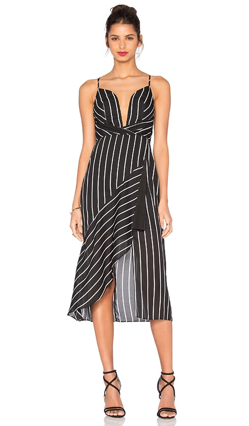 Shona Joy Isabelle Asymmetric Cocktail Dress in Black