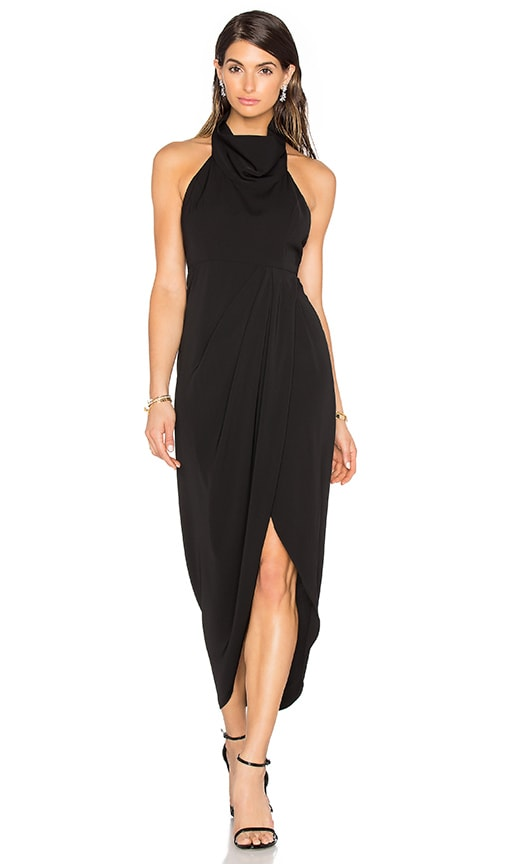 Shona Joy Monique Funnel Neck Backless Maxi Dress in Black