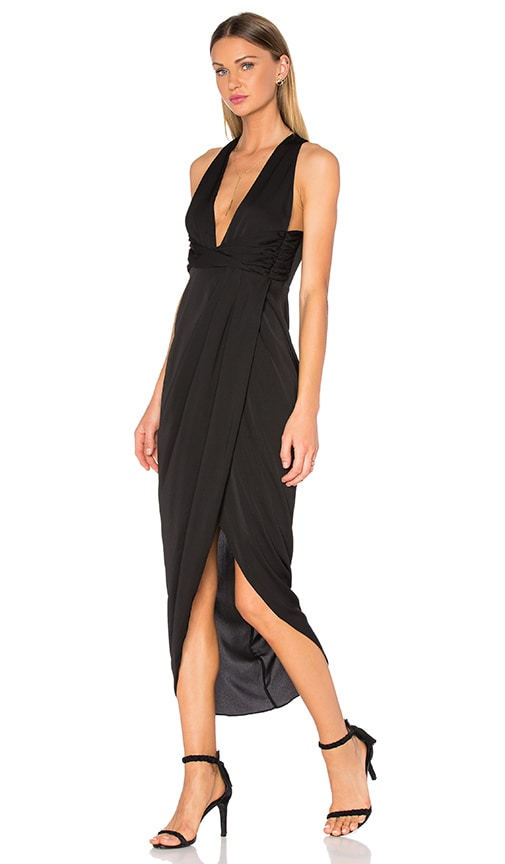 Shona Joy Monique Plunged Twist Maxi Dress in Black