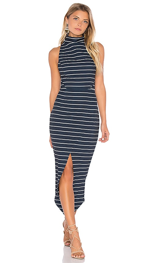 Shona Joy Ria High Neck Midi Dress in Navy