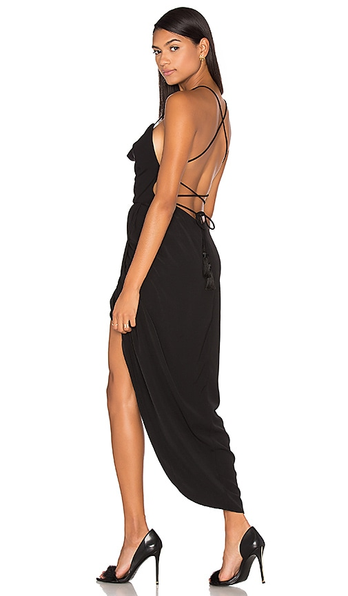Shona Joy Leticia Lace Up Cowl Maxi Dress in Black
