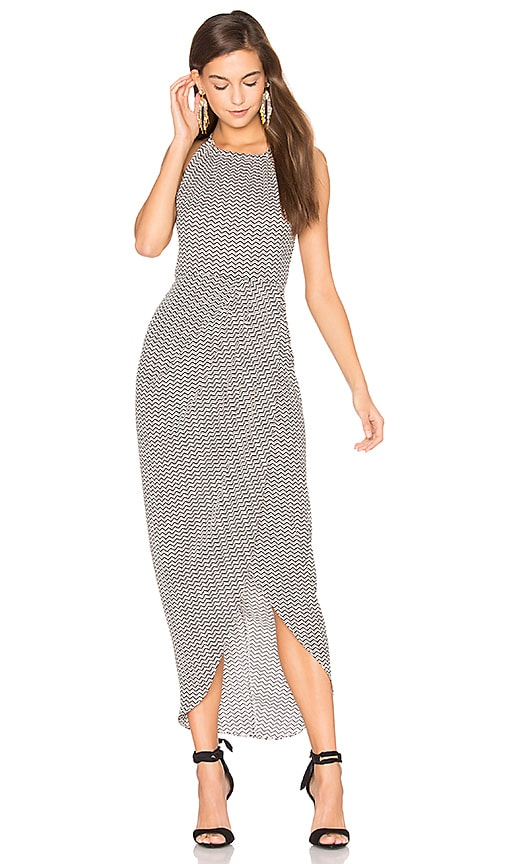 Shona Joy Etienne High Neck Ruched Maxi Dress in Black & White