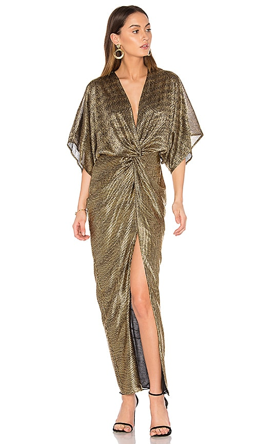 Shona Joy Twist Kimono Maxi Dress in Metallic Gold