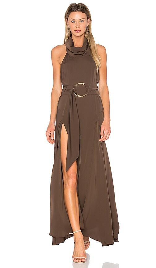 Shona Joy Zelda Funnel Neck Maxi Dress in Olive