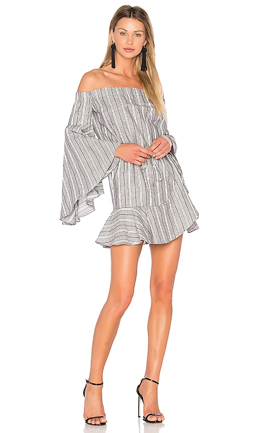 Shona Joy Tortuga Off The Shoulder Mini Dress in Gray