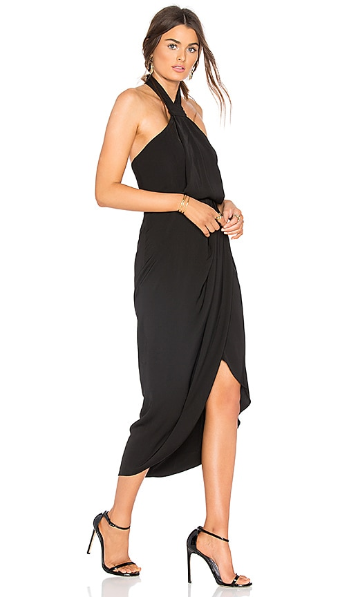 Shona Joy Knot Draped Dress in Black