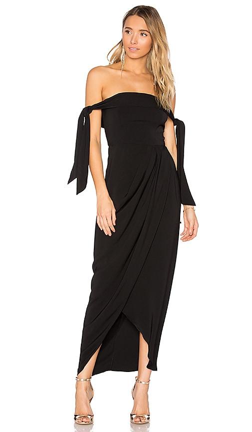 Shona Joy Tie Shoulder Dress in Black