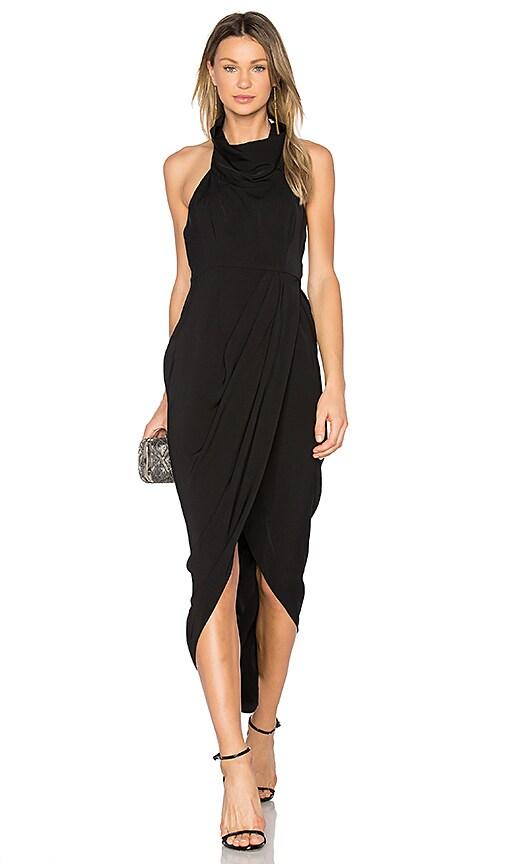 Shona Joy Funnel Neck Dress in Black