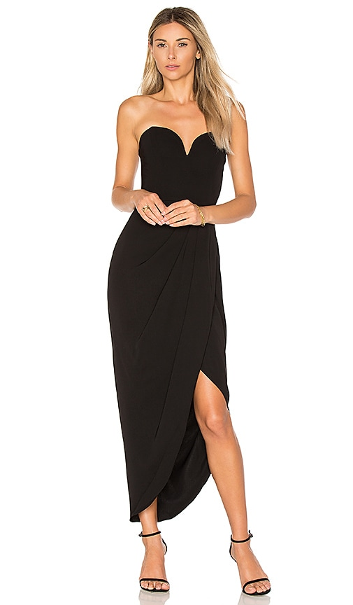 Shona Joy Draped Dress in Black