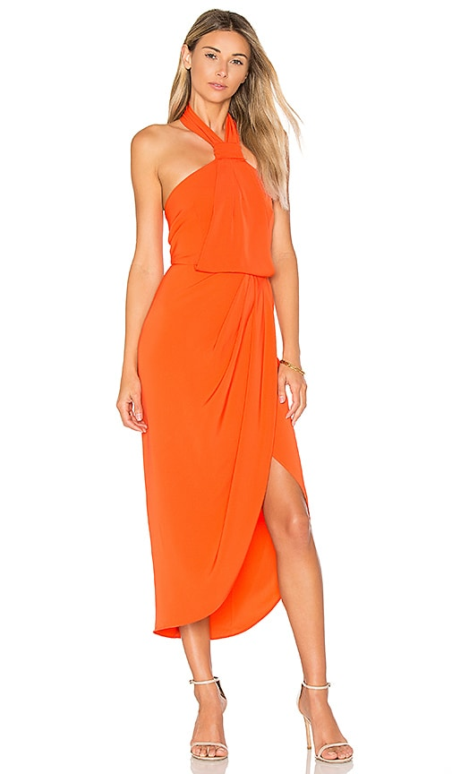 Shona Joy Knot Draped Dress in Orange
