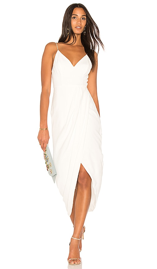 Shona Joy Cocktail Draped Dress in Ivory