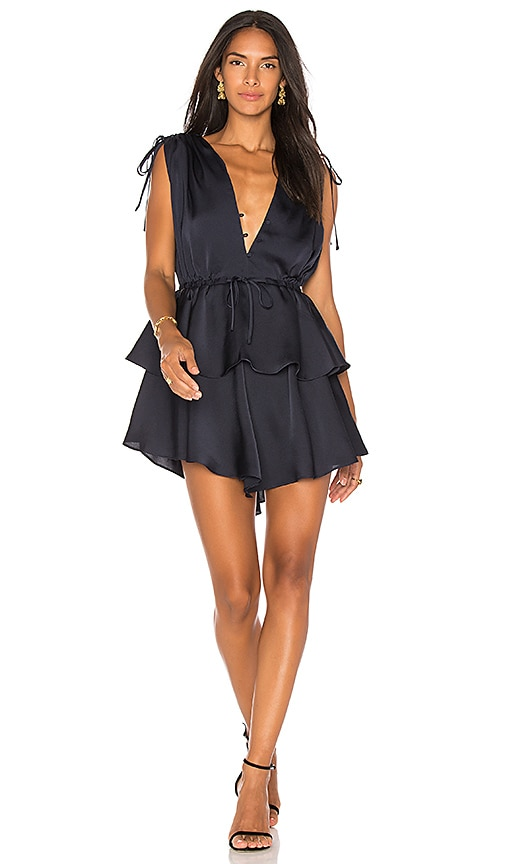 Shona Joy Calypso Ruched Peplum Dress in Navy