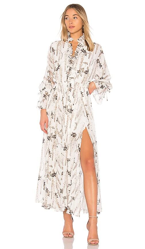 Shona Joy Bonaire Lace Up Maxi Dress in Ivory