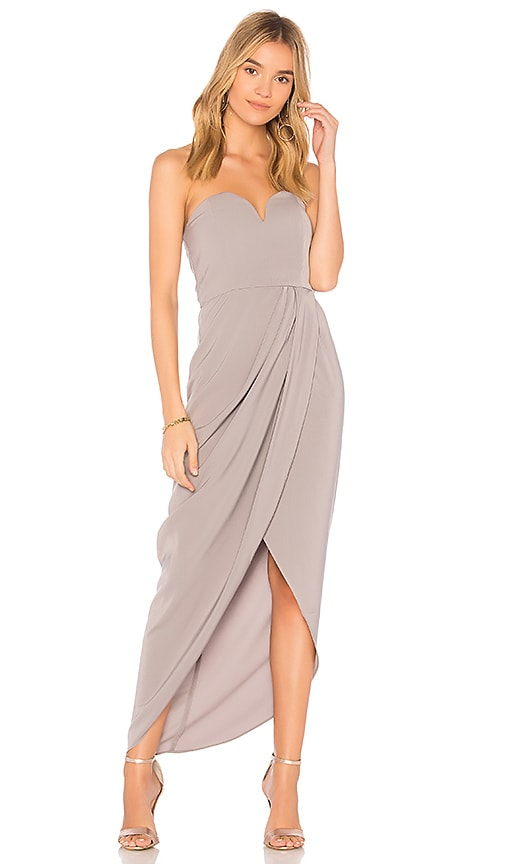 Shona Joy U Wire Bustier Draped Dress in Gray