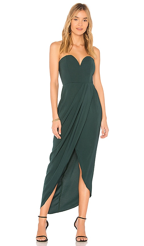 Shona Joy U Wire Bustier Draped Dress in Green
