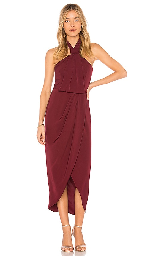 Shona Joy Knot Draped Dress in Burgundy