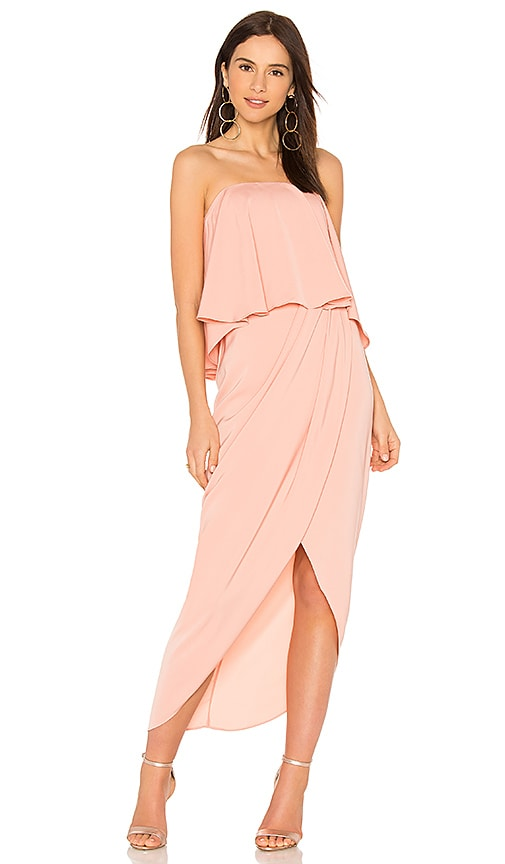 Shona Joy Strapless Frill Dress in Coral