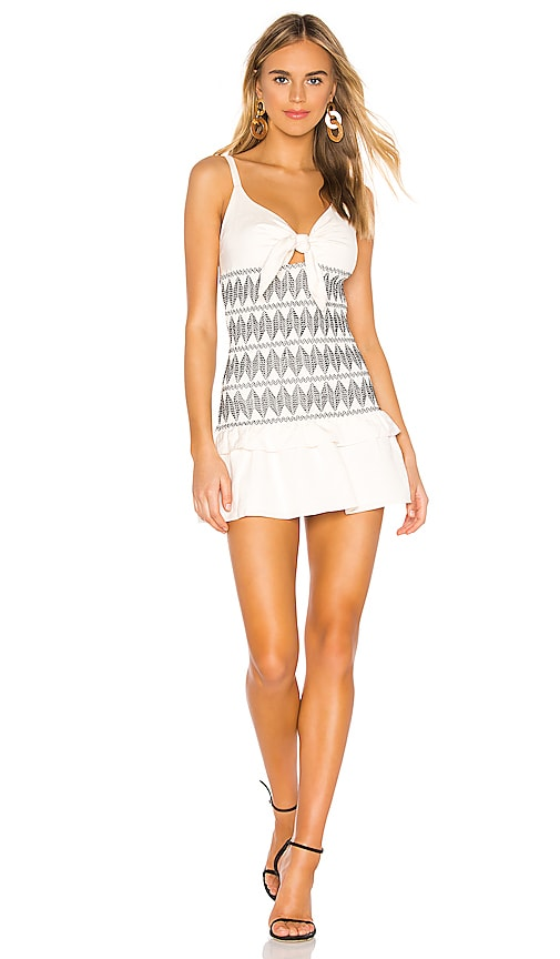 b6ba0e8a4c Shona Joy Santania Tie Front Shirred Mini Dress in Ivory