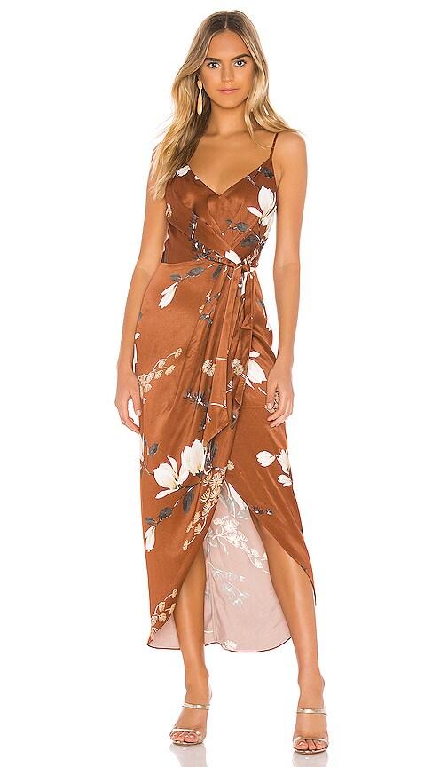 St Lucia Tie Front Draped Midi Dress