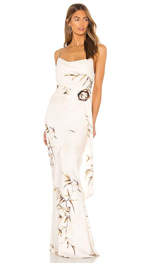 Shona Joy Horizon Bias Cowl Maxi Dress in Cream & Tan   REVOLVE