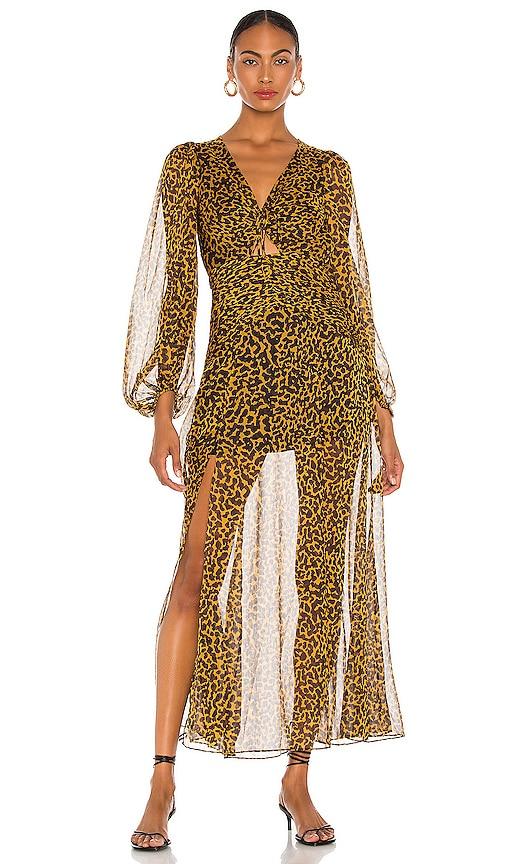 Shona Joy Raphael Ruched V Neck Maxi Dress in Black & Multi | REVOLVE