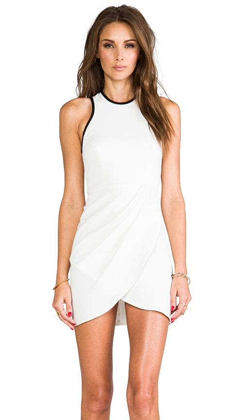 White Noise Draped Body Con Dress