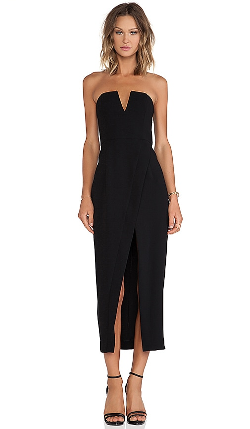 Shona Joy The Minimalist Bustier Cross Over Maxi Dress in Black