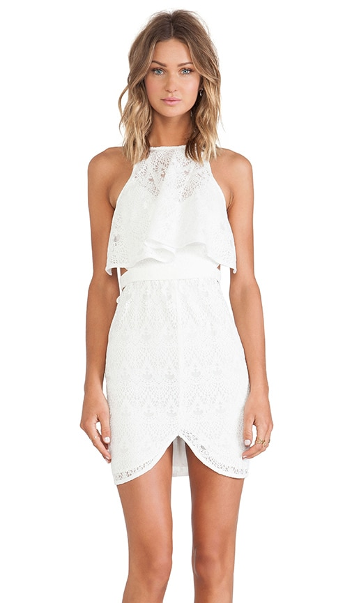 Shona Joy Romanticist High Neck Frill Cocktail Dress in White