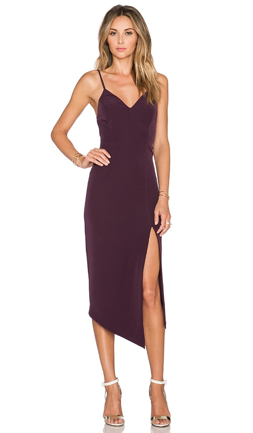 Shona Joy The Pass Cocktail Midi Dress in Aubergine