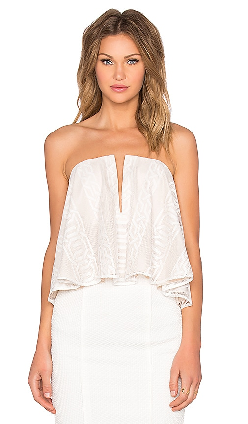 Shona Joy Ambrosia Flared Bustier Top in Ivory
