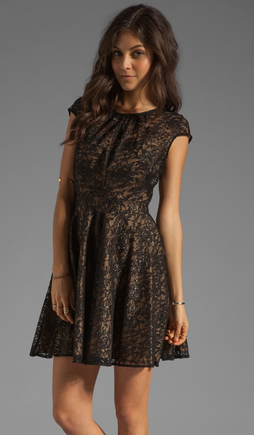 Floral Metallic Lace Heidi Dress