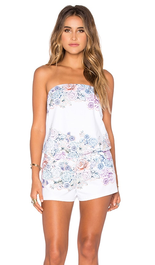 Shoshanna Summer Garden Strapless Romper in White