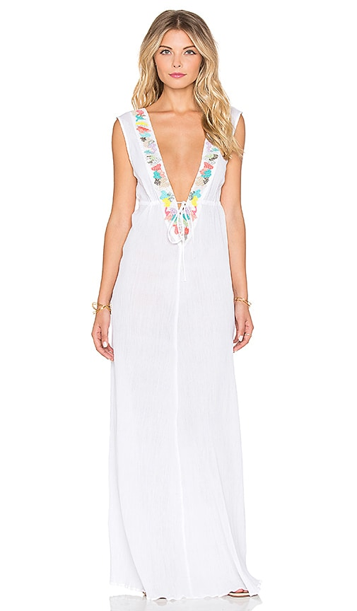 Shoshanna Mixed Media Embroidered Maxi Dress in White