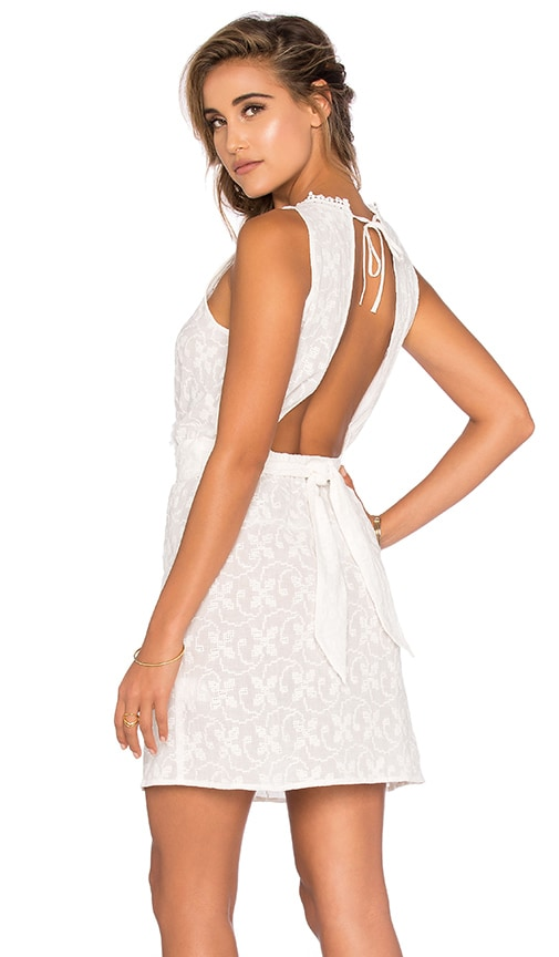 Shoshanna Embroidered Open Back Dress in Cream