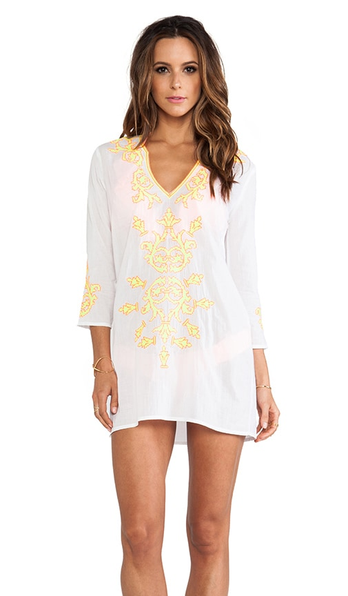 Embroidered V-Notch Tunic