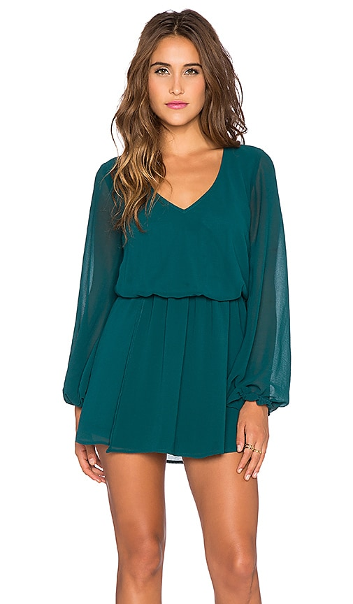 Show Me Your Mumu Rainey Mini Dress in Emerald Chiffon