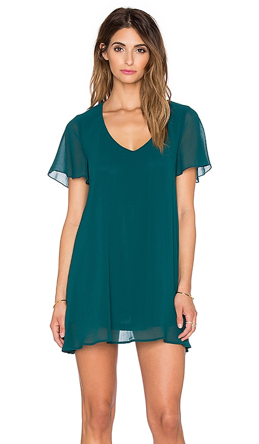 Show Me Your Mumu Kylie Mini Dress in Emerald Chiffon