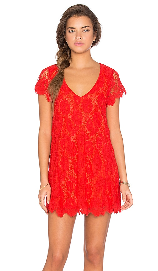 Show Me Your Mumu Kylie Mini Dress in Spring Fling Lace Blood Orange