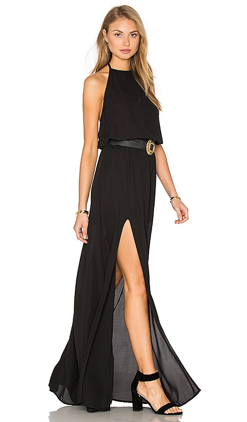 Show Me Your Mumu Heather Halter Dress in Black Crisp | REVOLVE